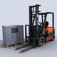 forklift diesel pallet 3d model