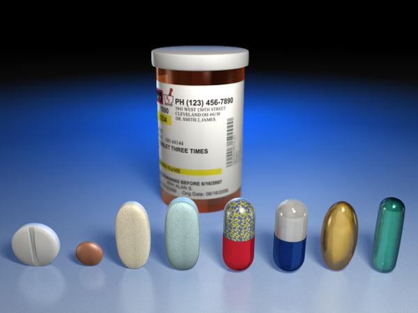 3d model medication pills capsules