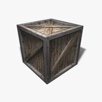 3d low-poly wooden crate model