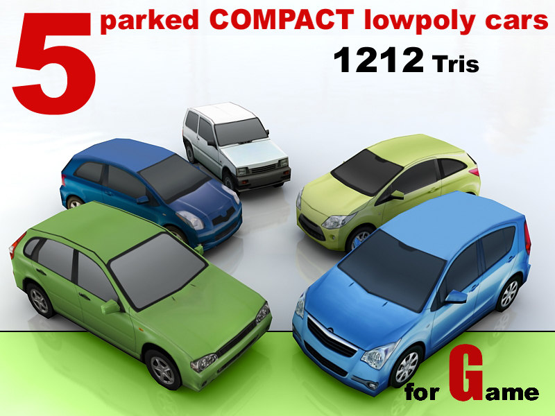 3d parked compact cars 5
