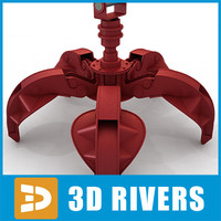 clamshell hydraulically excavator 3d 3ds