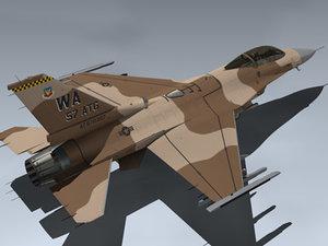 usaf f-16c desert 3d model
