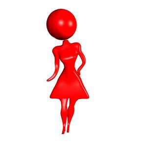 3d simple figure cartoon girl