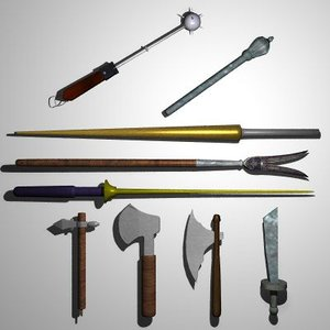 3d model set medieval hatchets lances