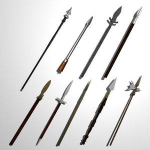 set 15 medieval spears 3d 3ds
