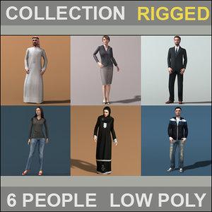 civilian characters rigged 3d model