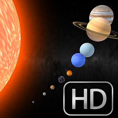 3d sol sistema solar planets
