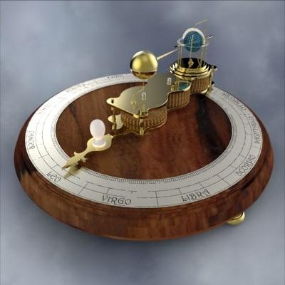 ferguson's mechanical paradox orrery 3d model
