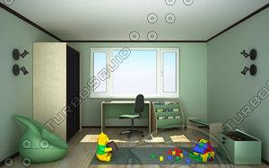 3ds max kids room interior