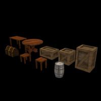 pirate themed furniture 3d model