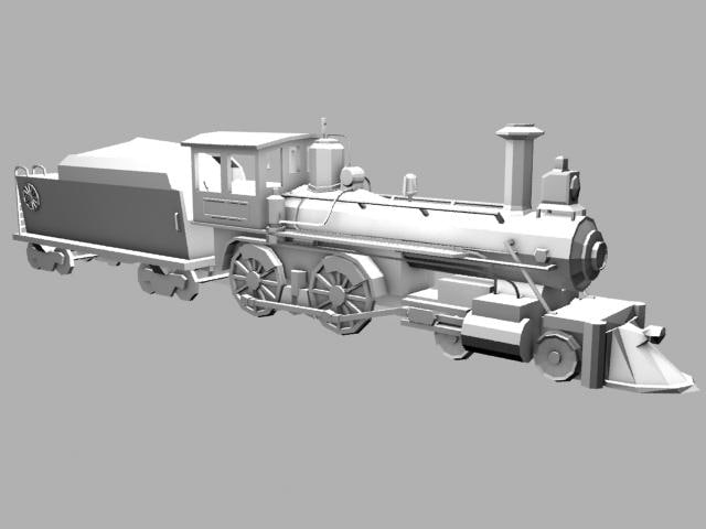 antique steam locomotive 3d model