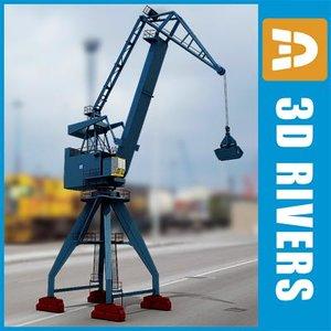 crane bulk-handling harbor 3d model