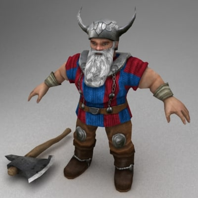 rigged dwarf 3d model