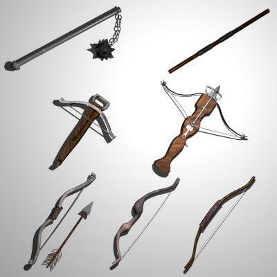 3dsmax set medieval bows