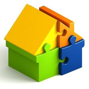 jigsaw puzzle house scene dxf