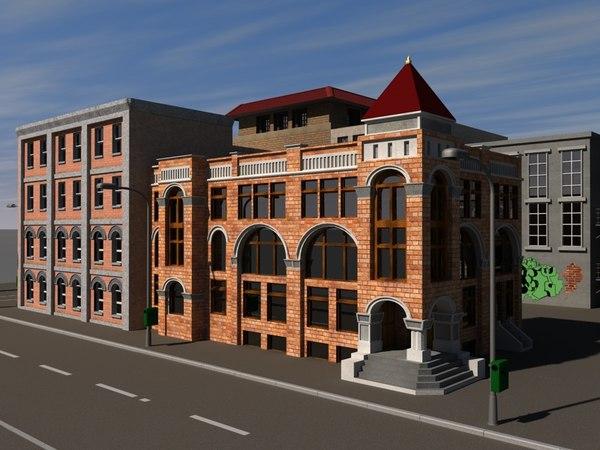 buildings street bus 3d model