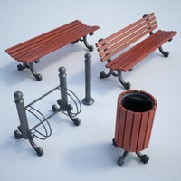 3d model set street furnitures bench