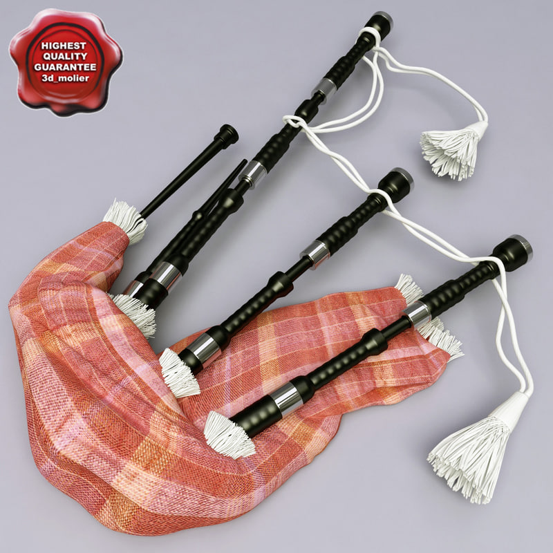 bagpipe details modelled 3d model