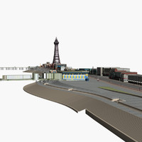 Blackpool Low Poly Buildings and Piers