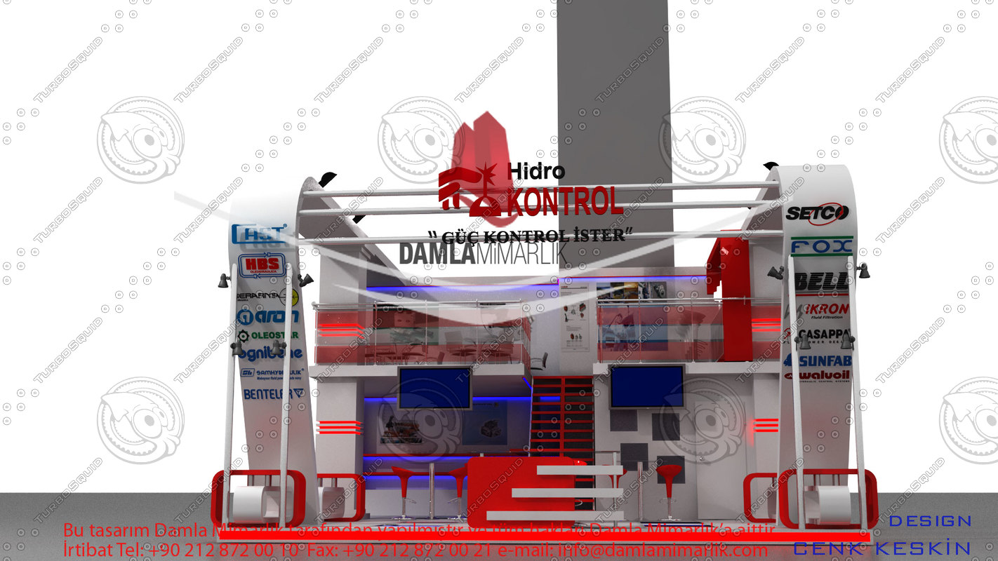 hidrokontrol exhibition stand design 3d model