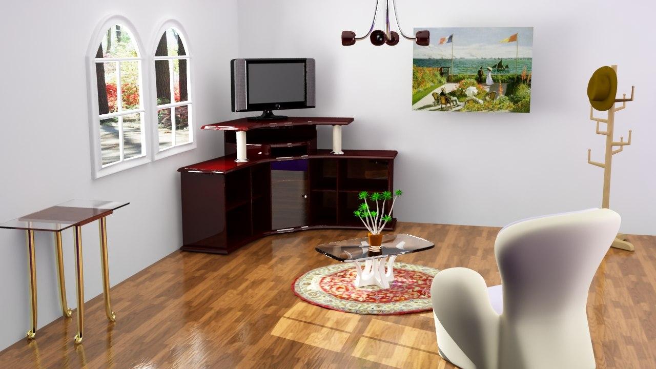 maya room scene various furniture