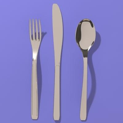 fork spoon knife 3d model