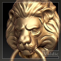 door handle lion head 3d model