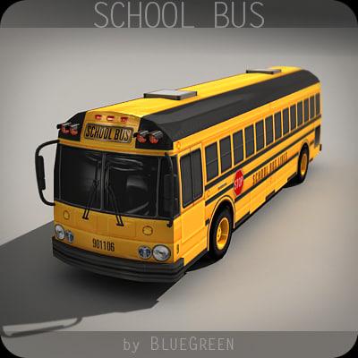 realtime school bus 3d max