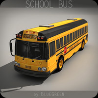 realtime school bus 3d max