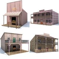 4 Western Houses 3D Models