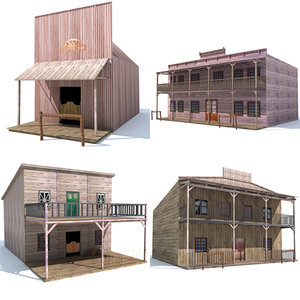 4 western houses 3d model