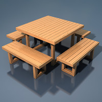 furniture table benches 3d model