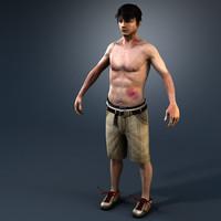 skateboarder male human 3d model
