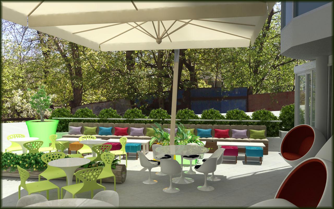 3d umbrella beach restaurants model