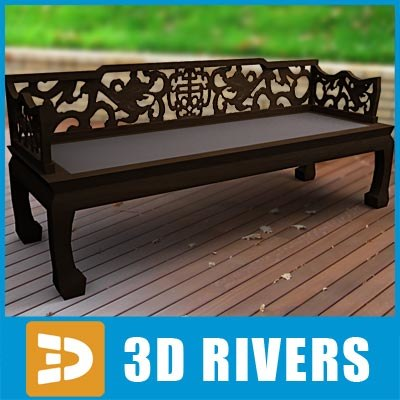 3d wooden chinese bench