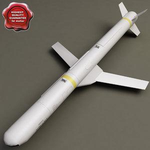 aircraft missile agm-84h slam 3d model