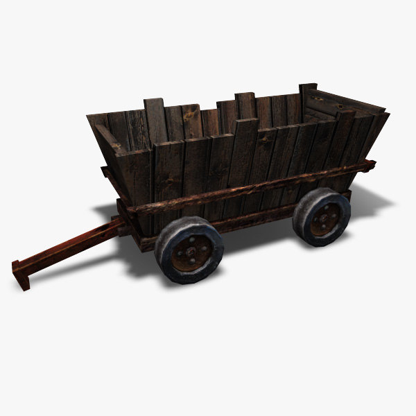 low-poly mining cart 3d model