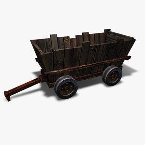 low-poly mining cart 3d model