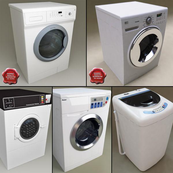 3d washers set modelled model