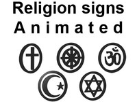 3d religion signs model