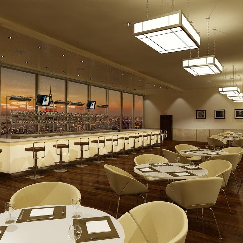 Restaurant Interior 3d Max : Bar restaurant interior lighting d max