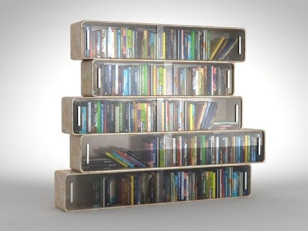 xsi futuristic shelves books