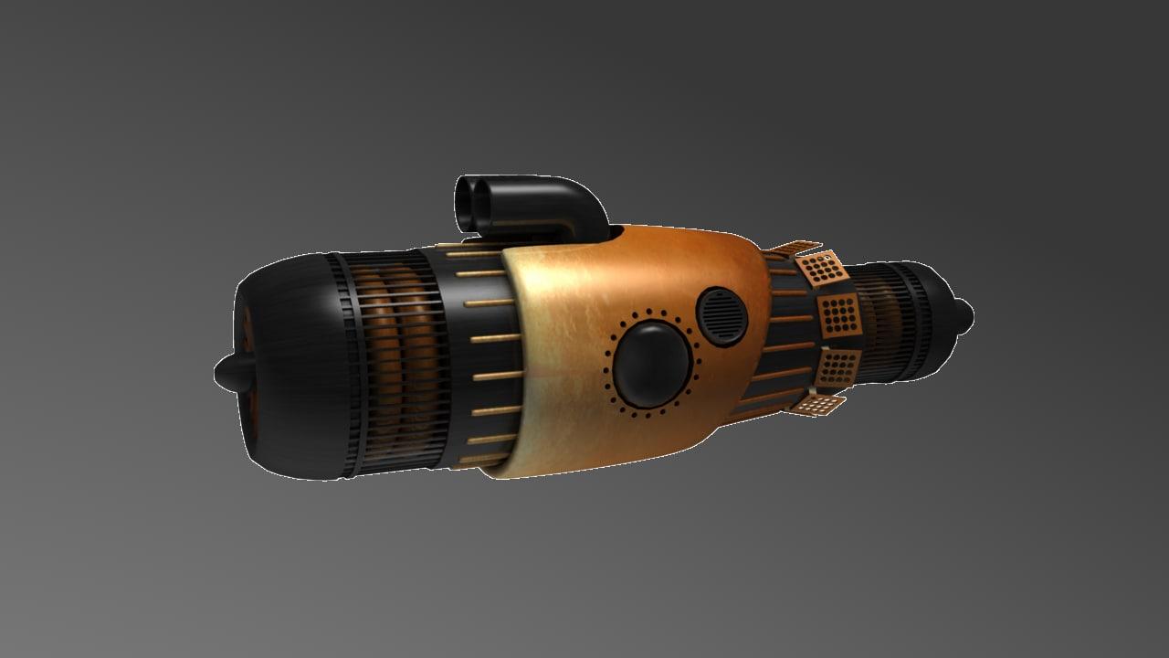 free pod racer engine 3d model