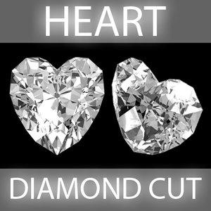 3d heart diamond cut