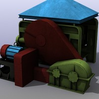 3d low-poly industrial machine model