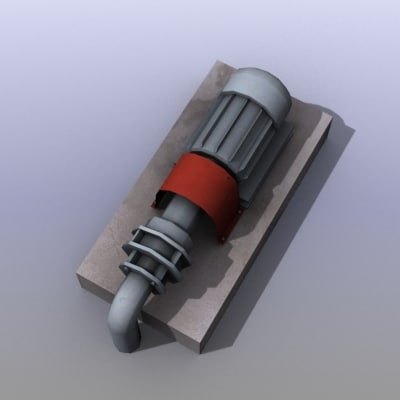 low-poly water pump 3d model