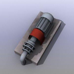 low-poly water pump 3d model