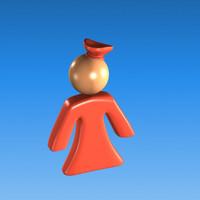 plastic girl woman icon 3d max