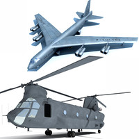 3d chinook helicopter b52 model
