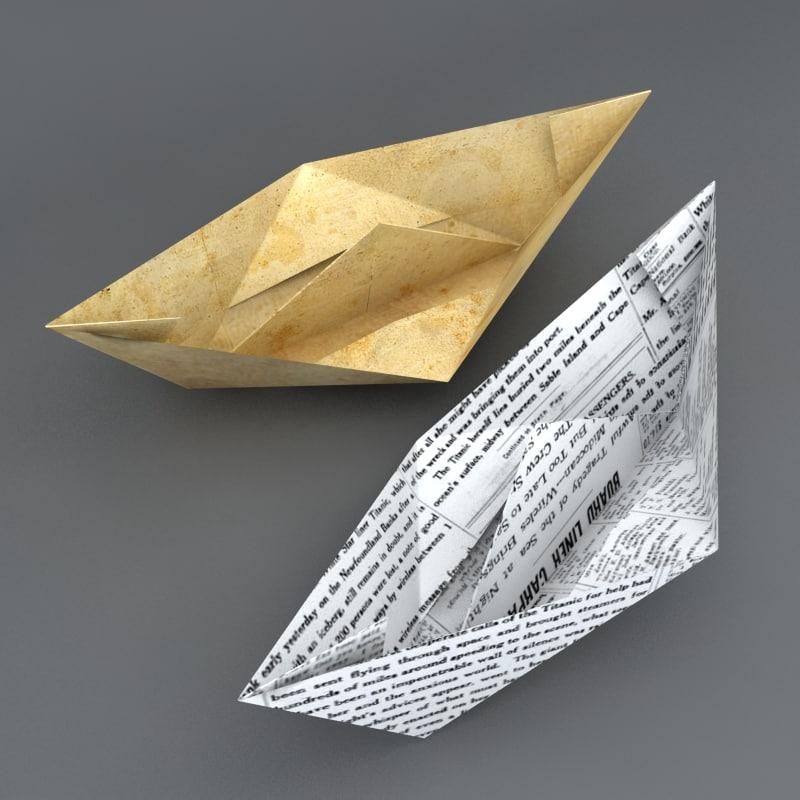 paper ship 3d model